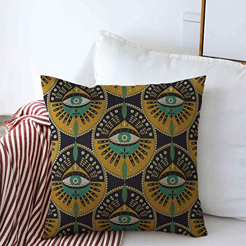 Decorative Square Throw Pillow Covers Pattern Tribal Evil Eye Patterned Bohemian Boho Ethnic Hipster Cushion Case for Sofa Bedroom Car 18 x 18 Inch