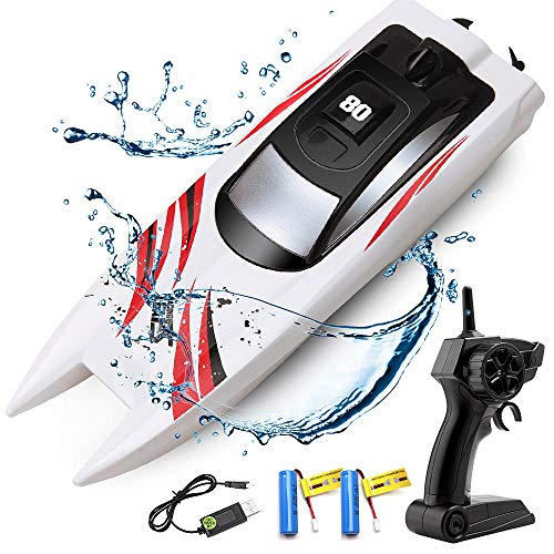 RC Boat Remote Control Boats for Pools and Lakes, ArgoHome S5B Self Righting 10km/h High Speed Boat Toys for Kids Adults Boys Girls(White)
