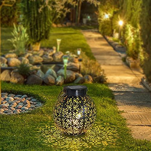 AKOFIC Farol Solar Exterior Jardin, Luces de Linterna Solar Colgante LED IP55 Impermeable, Lámpara de Metal Luz de Decoración Farolillos para Patio Jardín Terraza Mesa Navidad Césped Porche