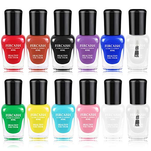 Fercaish Non-Toxic Nail Polish Easy Peel Off and Quick Dry Eco Friendly High Capacity Water Based Nail Polish Set for Girls, Women and Teens (12 Bottles)
