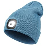 Beanie Hat with Light, Perfect Dad Gifts in Christmas, USB Rechargeable Head Torch Cap, Super Bright Hands Free Caps, Unisex Winter Warmer Knit Beany Hats with 4 LED Light for Men, Women (Blue)