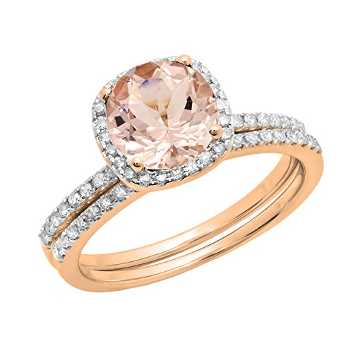 Dazzlingrock Collection 10K 6 MM Round Morganite & White Diamond Bridal Halo Engagement Ring Set, Rose Gold, Size 5