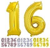 Globo numero 16 o 61 dorado. Globos Gigante números 1 6 del 0 al 99 fiestas cumpleaños decoración fiesta aniversario boda tamaño grande 70 cm con accesorio para inflar aire o helio (16/61 Oro)