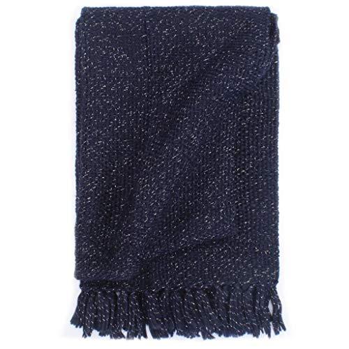 Irfora Überwurf Lurex, Tagesdecke Decke, Geignet als Tagesdecke & Überwurf für Sofa & Sessel, 220x250 cm Marineblau