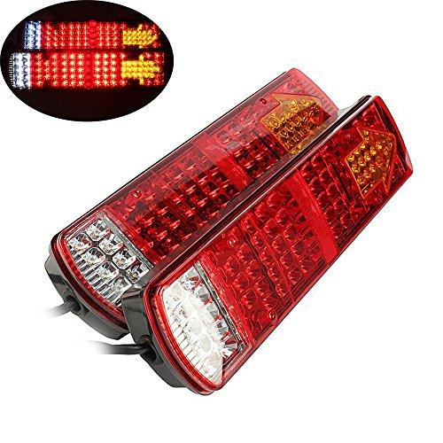 Feu Arriere pour Remorque, HEHEMM Feux Remorque Led 87 LED Feux Arrière Lampes à LED LED Feux de Voiture Feu arrière pour Remorque Camion Truck Restauration 24 V (Lot de 2)