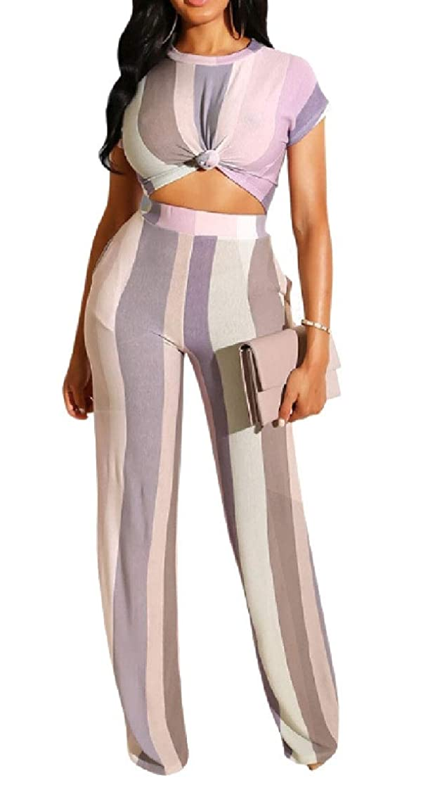 アストロラーベ見通し見るWomen Sexy 2 Piece Outfits Stripe Crop Top Wide Leg Long Pants Set