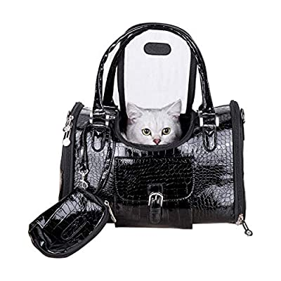 A-ONE Small Dog Cat Carrier Bag, Soft Sided Portable Premium PU Leather Dogs Purse Pet Carrier Bag, Perfect for Small Dogs Cats Rabbits Puppy, Airline Approved Outdoor Travel Walking Hiking (Black) from A-ONE