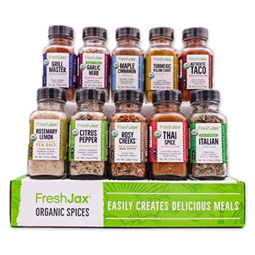 FreshJax Gourmet Spice Gift Set, Veggie Lover Seasonings Sampler (Veggie 10 Spice Gift Set)