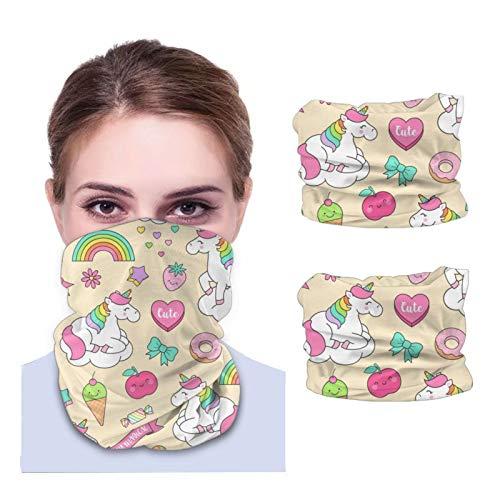 Lindo unicornio pastel y elementos de Doodle unisex polaina de cuello tela lavable pasamontañas reutilizables protección UV cubierta facial para viajar y caminar 2PCS