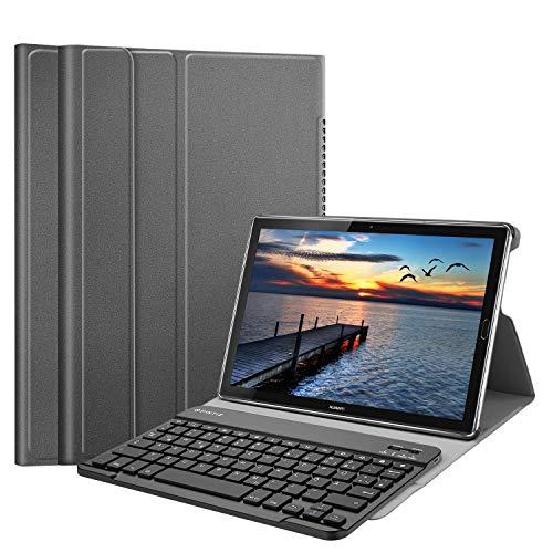 Huawei Mediapad M5 10.8/10.8 Pro QWERTZ Bluetooth Tastatur Hülle - Ständer Schutzhülle mit Magnetisch Abnehmbarer Drahtloser Deutscher Bluetooth Tastatur für Huawei M5 10,8 Zoll, Grau