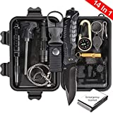 Puhibuox Gifts for Men Him, Emergency Survival Kit 14-in-1, Christmas Birthday Gifts for Men Dad Boyfirend, Outdoor Gear Tactical Survival Tool for Cars, Camping,Hiking,Hunting,Adventure Accessories
