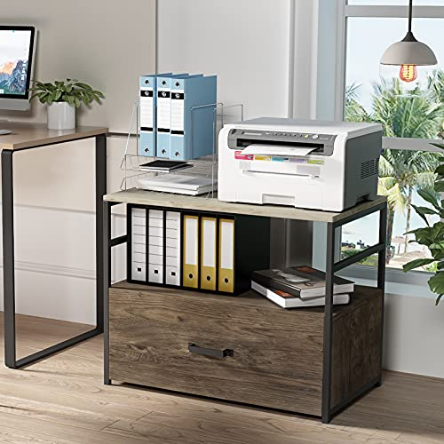 GREATMEET Wood Lateral File Cabinet with 1 Drawer, Office Printer Stand with Storage Shelves,Lateral Filing Cabinet for Letter,Legal,A4 Size, 30.3' L x 18.5' W x 25' H,Rustic Gray/Charred Wood