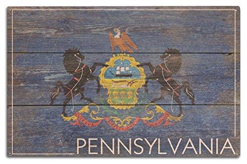 Lantern Press Rustique Pennsylvania State Drapeau 10 x 15 Wood Sign Multicolore