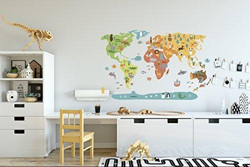 Menudos Cuadros Vinilo Decorativo Infantil mapamundi de Animales (Grande 150cmx90cm)