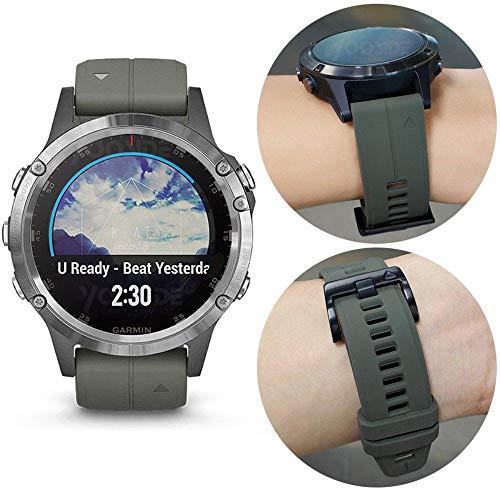 YOOSIDE Fenix 5X Plus Watch Strap, 26mm Quick Fit Silicone Sport Waterproof Replacement Watch Band Strap for Garmin Fenix 5X/5X Plus /D2 Charlie/Fenix3/3 HR/Quatix 3/Tactix Bravo (Green)