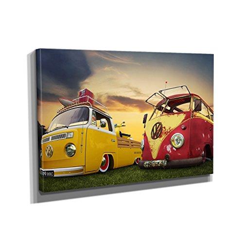 Nerdinger Bulli Tuning - Kunstdruck auf Leinwand (90x60 cm) zum Verschönern Ihrer Wohnung. Verschiedene Formate auf Echtholzrahmen. Höchste Qualität.