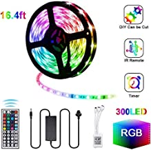 Gluckluz LED Light Strip 5M Decoration Lighting 300 LED Decor Lights Waterproof 5050 RGB Lights with Remote Control for Bedroom Car Kitchen Home Dining Table (Multi-Color)