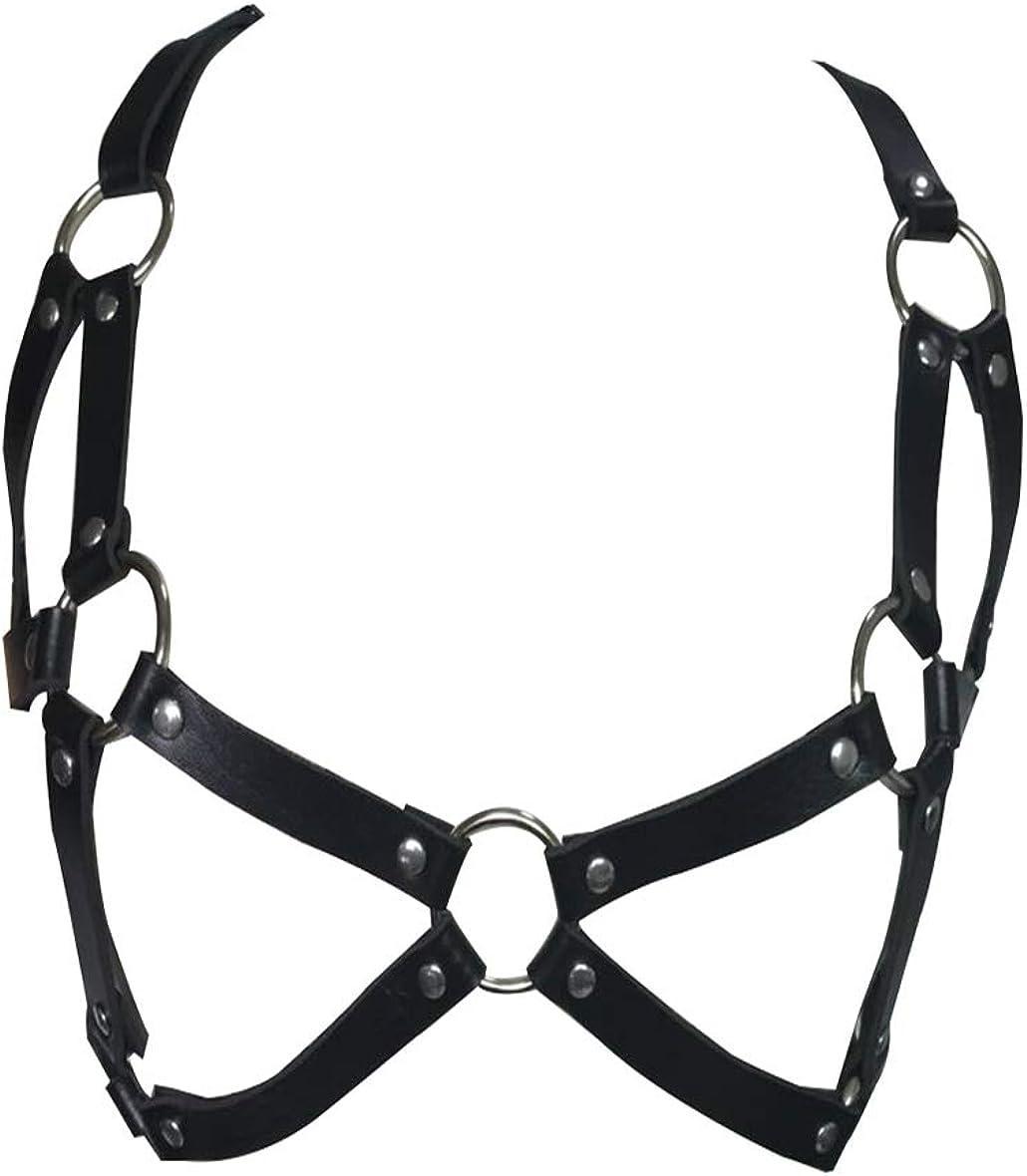 Qiansheng Women's NEW before selling Leather Chest Harness Caged Long-awaited Bra Waist Bel Punk