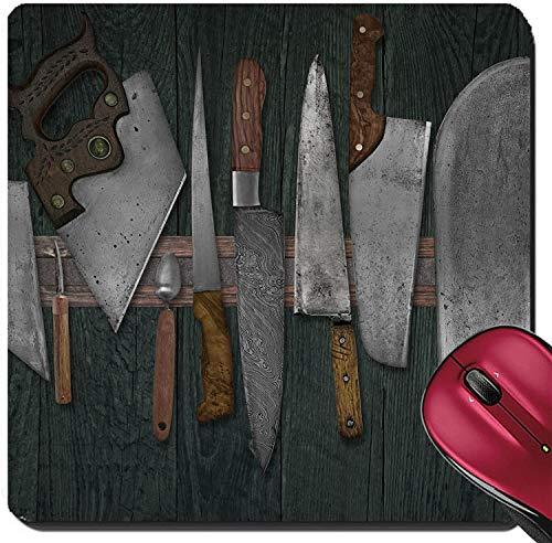 Suqare Mousepad Mauspads / Matte Vintage Messerset auf dem Magnetgestell gegen verblasste Wandfarben