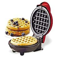 htovila Waffle Maker,Piastra Elettrica Antiaderente per Waffle, 350 W, Facile da Pulire,16 * 12 * 8,5 cm, Rosso