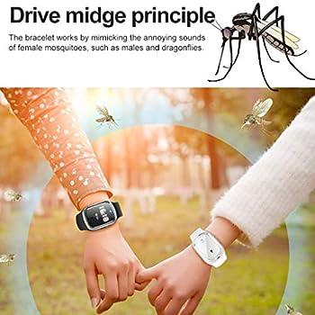 Bracelet Anti-Moustiques Intelligent Horloge Électronique, Bracelet Anti-Moustiques Portable, Montre À Ultrasons Répulsif, Bugs D'insectes Anti-Moustiques,Blanc