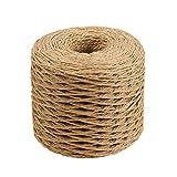 HEALLILY 2 Piezas Cuerdas de hilo de cinta de papel de rafia cuerda de embalaje natural para regalos de festival envoltura tejiendo gorro de sombrero decoración de arcos 200 m (café)