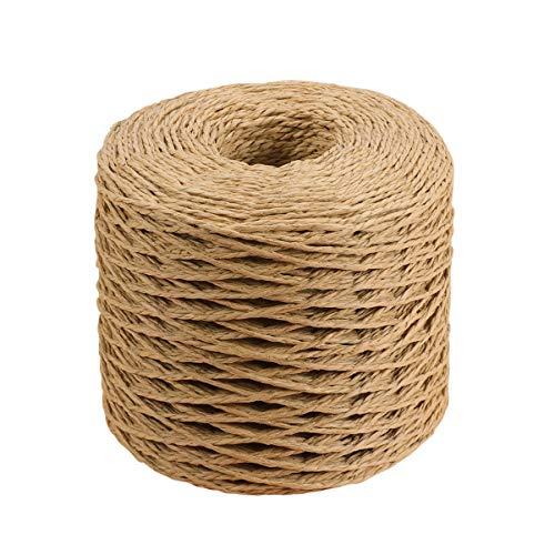 HEALLILY Cuerdas de hilo de cinta de papel de rafia cuerda de embalaje natural para regalos de festival envoltura tejiendo gorro de sombrero decoración de arcos 200 m (café)