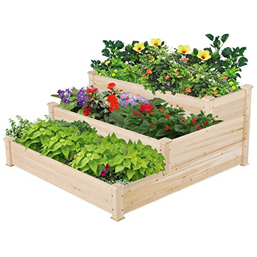 Topeakmart Tiered Raised Elevated Garden Bed Planter Box Kit for Vegetables Outdoors Natural Solid Wood 49 x 49 x 21.9in