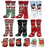 Womens Soft Fuzzy Sock, Holiday Christmas Slipper Socks, holiday stocking stuffers, Snowflake Fuzzy Socks, 6 Pack, Size 9-11