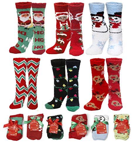 Gilbins Womens Soft Fuzzy Sock, Holiday Christmas Slipper Socks, Holiday Stocking Stuffers, Snowflake Fuzzy Socks, 6 Pack, Size 9-11