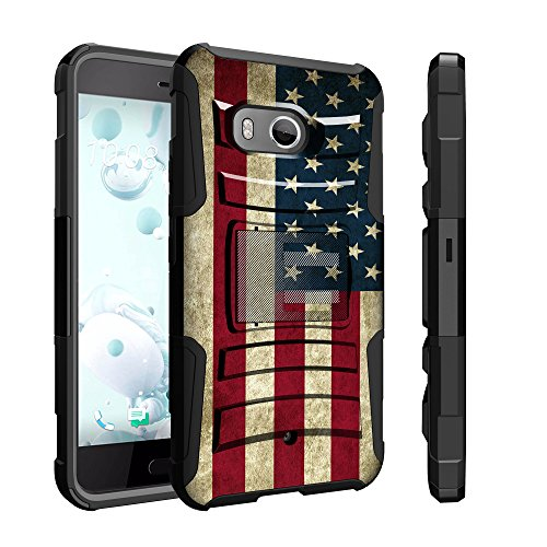 Untouchble Case for HTC U11 Case, HTC Ocean Flag Holster Case, HTC U 11 Case [Heavy Duty Clip]- Shockproof Swivel Holster Case with Built in Kickstand - Vintage America Flag