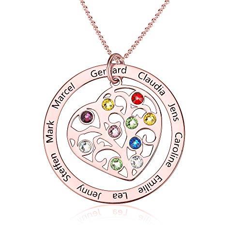 Collar con Nombre de Familia Personalizado Collares de Madres con árbol de la Vida Personalizado con Piedras de Nacimiento Colgante de corazón con 10 Nombres para mamá y Abuela