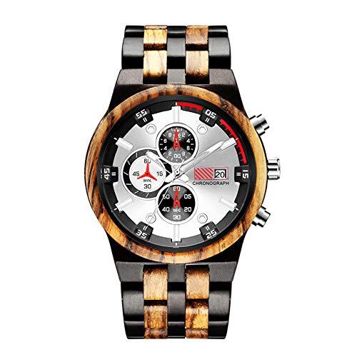 WN-PZF Reloj de Pulsera para Hombre, Reloj de Cuarzo Redondo para Hombre, Reloj de Madera Maciza con Espejo de Cristal de máquina, Manos Luminosas, Esfera de Varios Niveles,B