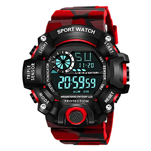 Shocknshop Digital Sports Multi Functional Black Dial Watch for Mens Boys -315RED (Red)