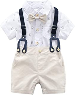 LOOLY Baby Boys Gentleman Outfits Short Sleeve Striped T-Shirt+Bib Pants+Bow Tie