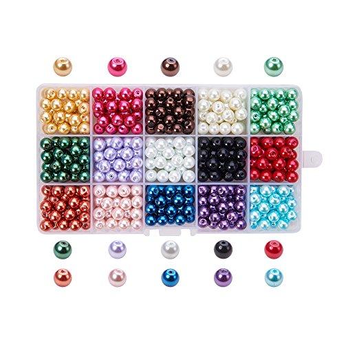 PandaHall - 450 pcs 15 Couleurs Perle en Verre Perles Rondes Perles Nacrées Teint Environmental pour DIY Fabrication de Bijoux Collier Bracelet, 8mm, Trou: 1mm