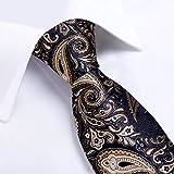 URNOFHW Lazo del diseño de la Corbata for Hombre Negro de Paisley del Oro de Seda de la Boda for los Hombres del Lazo del pañuelo de la mancuerna del Sistema del Anillo