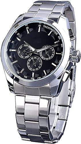QHG Relojes mecánicos para Hombre Fecha Reloj de Moda Luminoso Automático Auto-Sinuoso Silver Silver Steelwatch