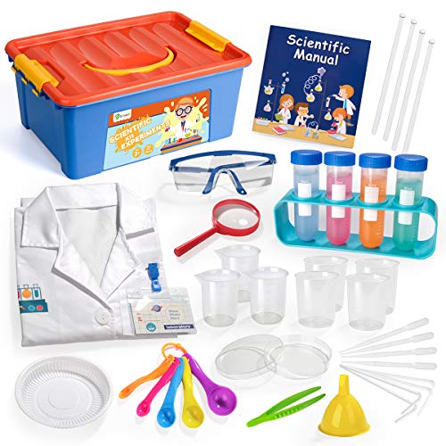 D-FantiX Kids Science Kit, 36Pcs Science Experiment Kit with Lab Coat Goggles SpoonsToy Laboratory Set Pretend Role Play Scientist Costume STEM Toys Gift for Toddlers Age 3 4 5 6 7 8 9 10
