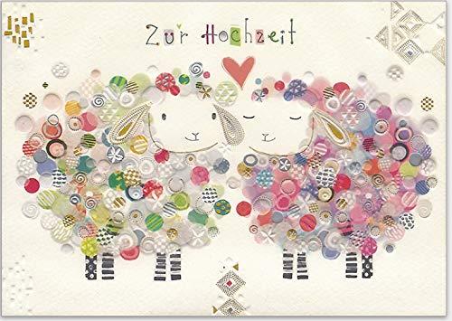 Hochwertige Grußkarte von Turnowsky zur Hochzeit. Relief-Klappkarte zum Beschriften mit Umschlag - Motiv: verliebte bunte Schafe