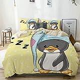 Juego de Funda nórdica Beige, Sleepy Baby Penguin in Hood Ready to Bed Childhood Happy Dream Cartoon, Juego de Cama Decorativo de 3 Piezas con 2 Fundas de Almohada