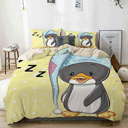 Juego de funda nórdica Beige, Sleepy Baby Penguin con capucha listo para ir a la cama Childhood Happy Dream Cartoon, decorativo Juego de cama de 3 piezas con 2 fundas de almohada Fácil cuidado Anti-al