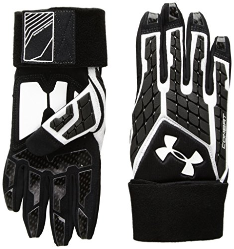 Under Armour Boys Youth Combat V Football Gloves, White (100)/White, Youth Large