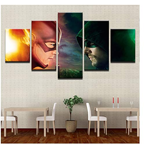 GIRDSS HD-Druck Leinwand Malerei Green Arrow Man und der Flash-Typ Poster Home Decor Artwork-30X40x2-30x60x2-30x80cm No Framed