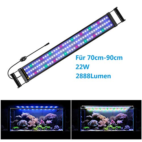 FTALGS Aquarium LED Beleuchtung Aquariumbeleuchtung Weiß Blau Rot Grün von Licht (80A=29.5''-39.3''(72CM))