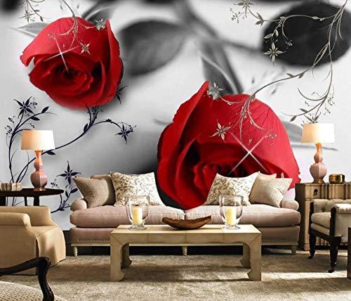 Papel Pintado 3D Patrón De Rosa Roja En Blanco Y Negro Fotomurale 3D
