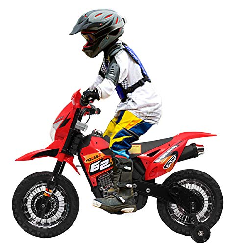 JAXPETY Kids Motorized Motorcycle, 6V Battery Powered , Electric Ride-on Mini Motorbike for Children 3-6 with Training Wheels, Headlights& MP3,, Red