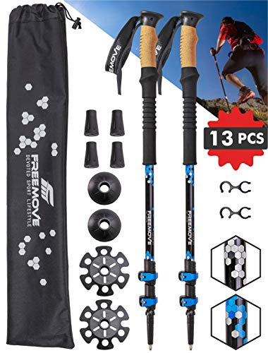FREEMOVE Trekking Poles Collapsible, Lightweight Ultra Strong Aluminum 7075 Sticks for Hiking and Walking with Cork Grips, Quick Locks, Fully Equiped Accessories Gear for Men and Women