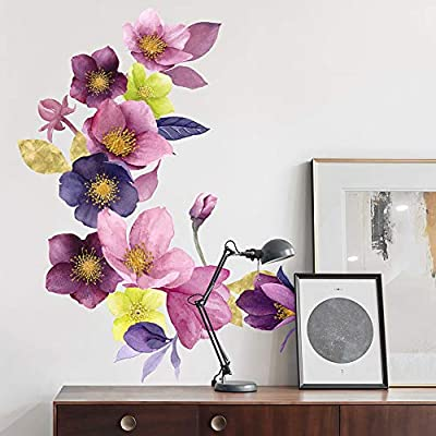 HaokHome W-10707 Wall Decal Flower Wall Sticker Floral for Girls Bedroom Living Room Nursery Decor