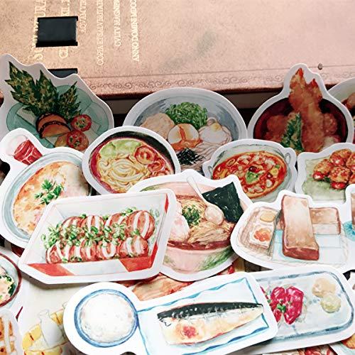 LZWNB Tn Hand Account Footage Album japonés y viento comida cuaderno Cutbook decoración pequeñas pegatinas 43 piezas